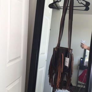 Handbags - Crossbody brown fringe purse
